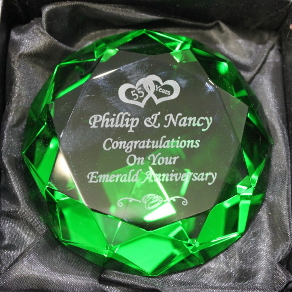 Personalised 80mm Emerald Green Diamond Paperweight Engraved